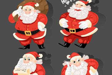 4款创意快乐圣诞老人矢量素材