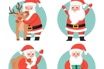 4款微笑圣诞老人矢量素材