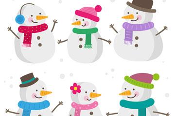 6款创意微笑雪人设计矢量素材