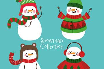 4款可爱服饰雪人矢量素材
