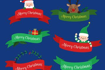 6款可爱圣诞节丝带条幅矢量素材