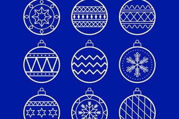 9款白色线条圣诞吊球矢量素材