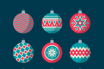 9款复古花纹圣诞吊球矢量素材