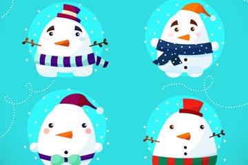 4款白色球形雪人矢量素材