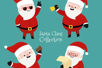4款时尚可爱圣诞老人矢量素材