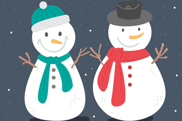 2款卡通微笑雪人矢量素材