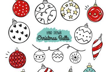 15款手绘圣诞吊球设计矢量素材