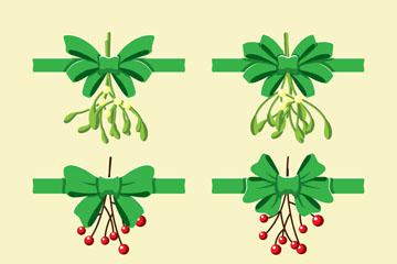 6款绿色圣诞植物蝴蝶结矢量素材
