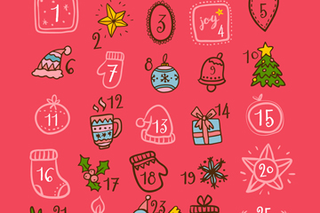 彩绘可爱圣诞月历设计矢量图