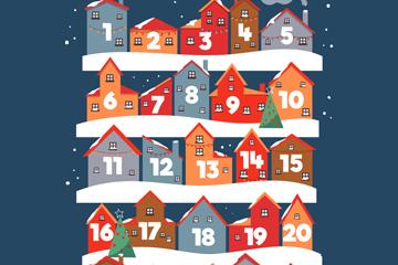 创意圣诞节房屋月历矢量素材