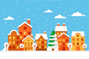 彩色雪中的圣诞小城风景矢量素材