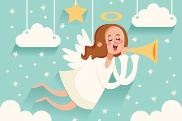 创意天空中的白色圣诞天使矢量图