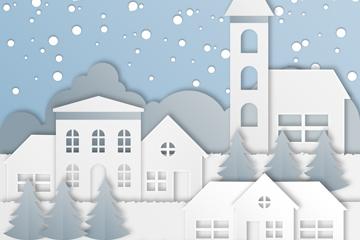白色圣诞小城剪贴画矢量素材