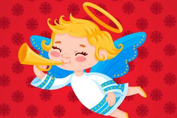卡通吹金色号角的圣诞天使矢量图
