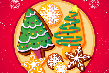 美味圣诞节盘子中的饼干矢量素材