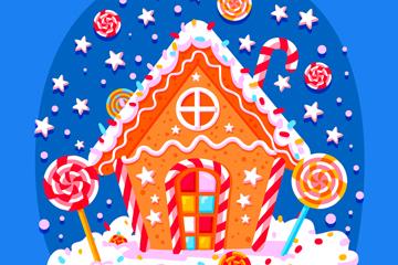 彩色姜饼糖果屋矢量素材