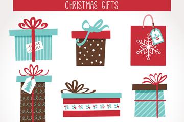 8款彩绘花纹圣诞礼盒矢量图