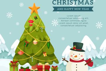 可爱圣诞树和雪人矢量素材
