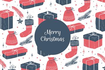 复古圣诞袜和礼物无缝背景矢量图