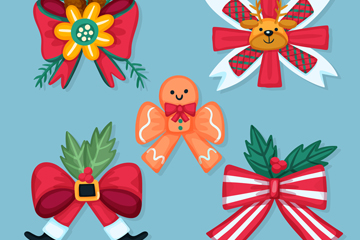 5款卡通圣诞节丝带蝴蝶结矢量素材