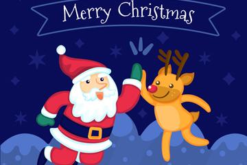 可爱拍手的圣诞老人和驯鹿矢量图