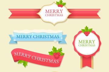 5款创意圣诞节祝福条幅矢量素材