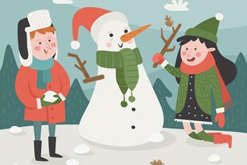 创意圣诞节堆雪人的男孩和女孩矢量图