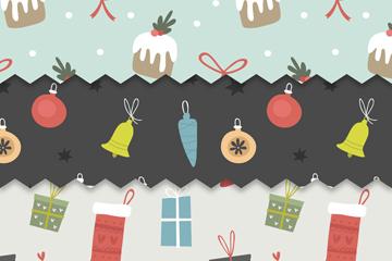 3款手绘圣诞元素无缝背景矢量图