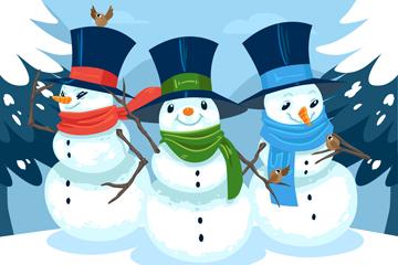 卡通雪中的的3个雪人矢量素材