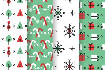 4款简洁圣诞图案无缝背景矢量素