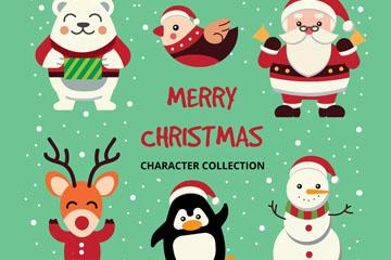 6款快乐圣诞角色矢量素材