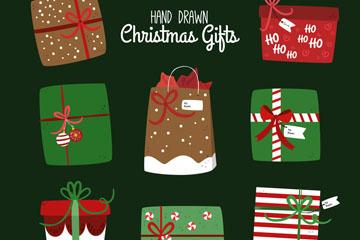 8款手绘圣诞节礼物矢量素材