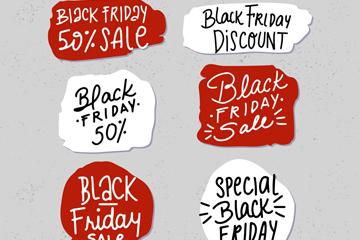 6款手绘黑色星期五促销标签矢量图