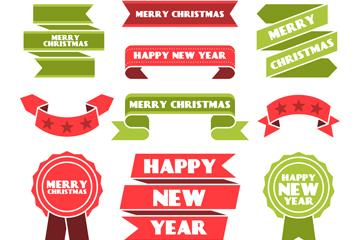 12款彩色圣诞节新年条幅和徽章矢量图