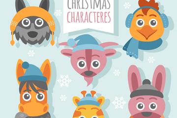 6款创意圣诞动物头像矢量素材