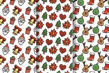 3款可爱圣诞元素无缝背景矢量素材