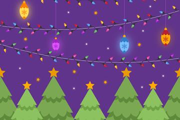 创意圣诞树林和彩灯矢量素材