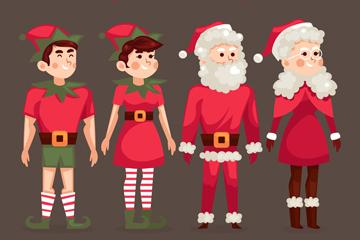 4款创意圣诞节人物矢量素材