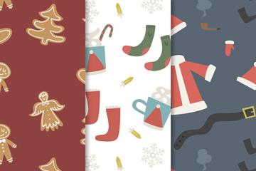 3款创意圣诞元素无缝背景矢量素材