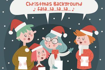 4个创意唱圣诞歌曲的女孩矢量素材