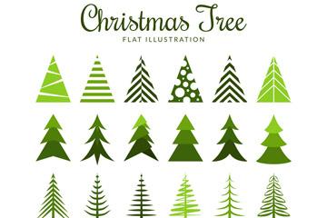 24款扁平化圣诞树设计矢量素材