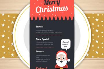 创意餐盘上的圣诞菜单矢量素材