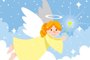 可爱云中的圣诞天使矢量素材