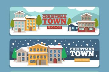 3款创意圣诞小城风景banner矢量图