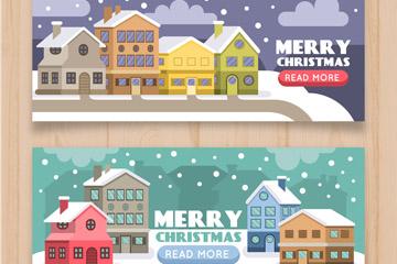 2款彩色圣诞小城banner矢量素材