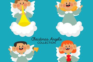 4款卡通云上圣诞天使矢量素材