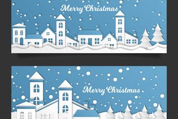 2款白色圣诞小城剪贴画banner矢