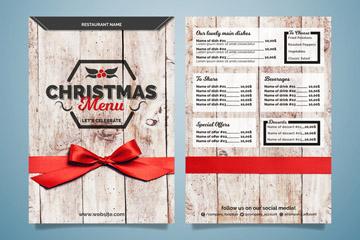 精美木纹圣诞菜单正反面矢量图