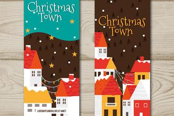 2款彩绘圣诞夜小城banner矢量图