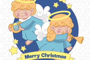 2个可爱演奏乐器的圣诞天使矢量素材